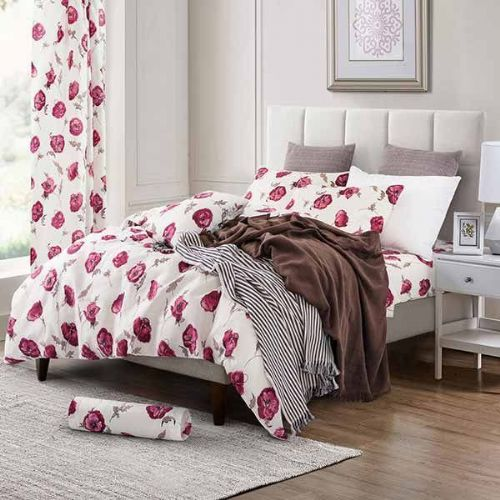Oxford Anemone Complete Duvet Cover Set - White Red